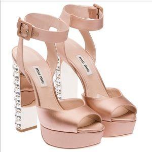🆕Miu Miu Crystal-Heel Ankle-Wrap Sandal SZ 39